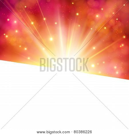 Vibrant party invitation or card with star burst