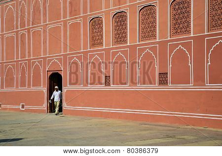 Jaipur, India - December 29, 2014: Indian Man At The City Palace In Jaipur