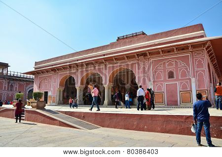 Jaipur, India - December 29, 2014: People Visit The City Palace Complex In Jaipur