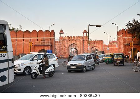 Jaipur, India - December 29, 2014: People Visit Sanganeri Gate Of Jaipur
