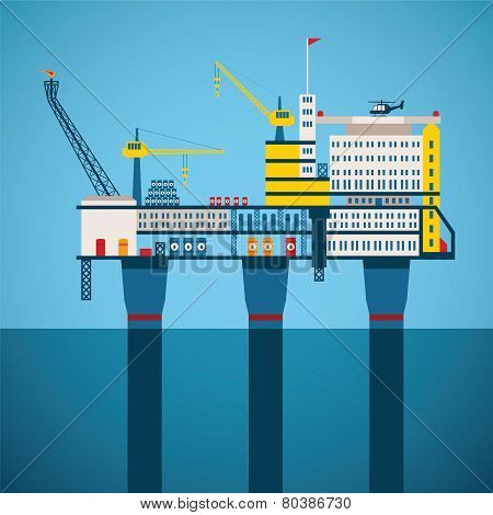 Vector Concept Of Oil And Gas Offshore Industry