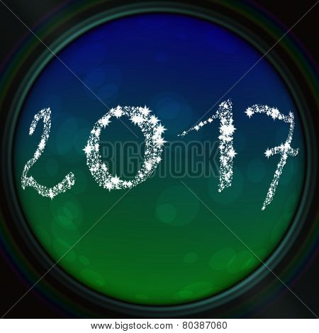 Blue-green bokeh texture with 2017 inscription in the viewfinder lens