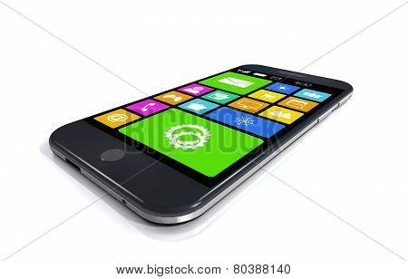 Black Smartphone With A Variety Of Software Applications.
