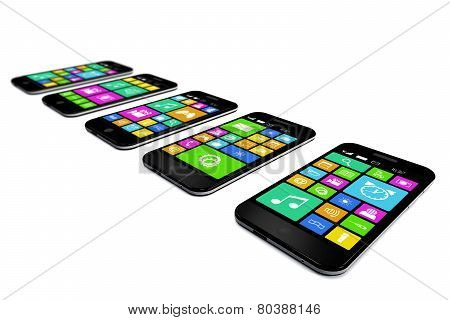 Black Smartphones With A Variety Of Software Applications.