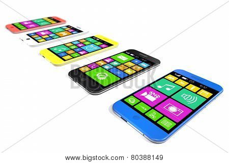 Multicolored Smartphones With A Variety Of Software Applications.