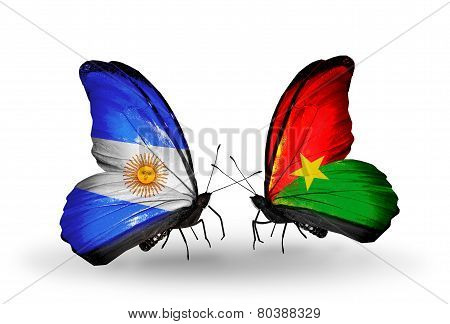 Two Butterflies With Flags On Wings As Symbol Of Relations Argentina And Burkina Faso