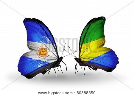 Two Butterflies With Flags On Wings As Symbol Of Relations Argentina And Gabon