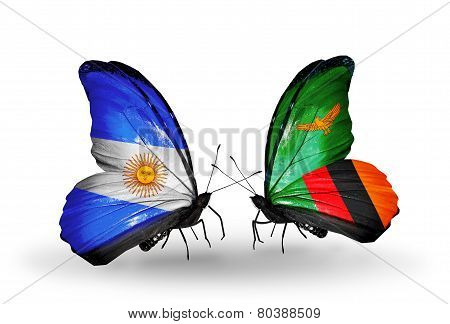 Two Butterflies With Flags On Wings As Symbol Of Relations Argentina And Zambia