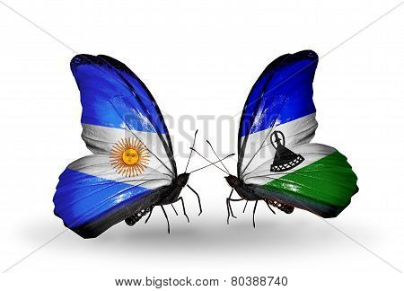 Two Butterflies With Flags On Wings As Symbol Of Relations Argentina And Lesotho