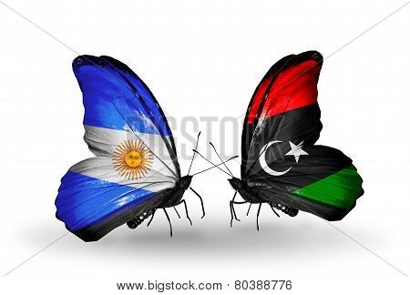 Two Butterflies With Flags On Wings As Symbol Of Relations Argentina And Libya