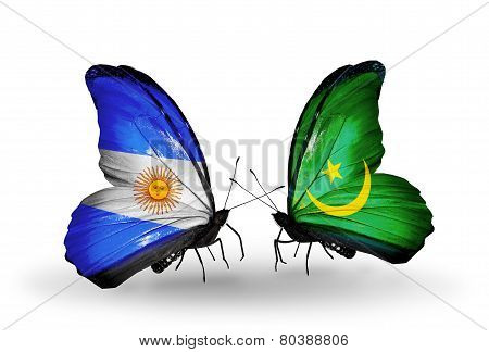 Two Butterflies With Flags On Wings As Symbol Of Relations Argentina And Mauritania