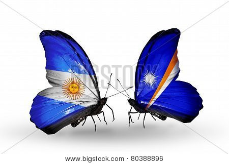 Two Butterflies With Flags On Wings As Symbol Of Relations Argentina And Marshall Islands
