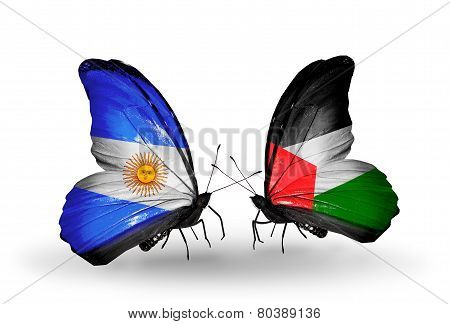 Two Butterflies With Flags On Wings As Symbol Of Relations Argentina And Palestine