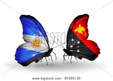 Two Butterflies With Flags On Wings As Symbol Of Relations Argentina And Papua New Guinea