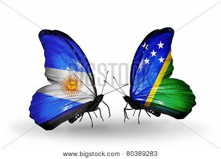 Two Butterflies With Flags On Wings As Symbol Of Relations Argentina And Solomon Islands