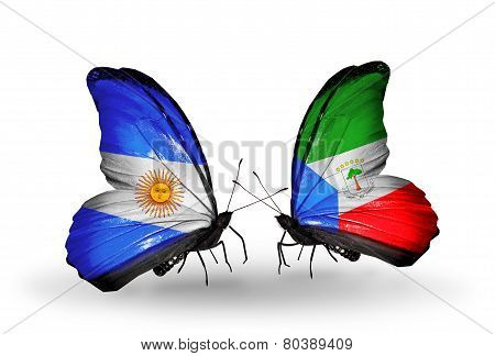Two Butterflies With Flags On Wings As Symbol Of Relations Argentina And Equatorial Guinea