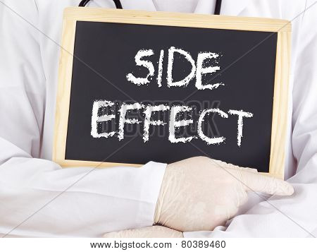 Doctor Shows Information On Blackboard: Side Effect