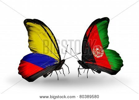 Two Butterflies With Flags On Wings As Symbol Of Relations Columbia And Afghanistan