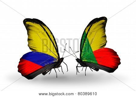Two Butterflies With Flags On Wings As Symbol Of Relations Columbia And Benin