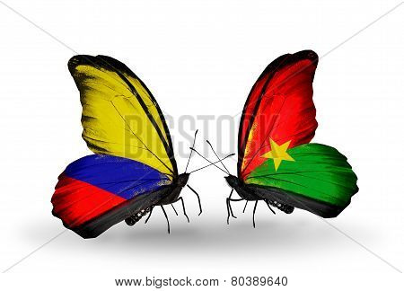 Two Butterflies With Flags On Wings As Symbol Of Relations Columbia And Burkina Faso