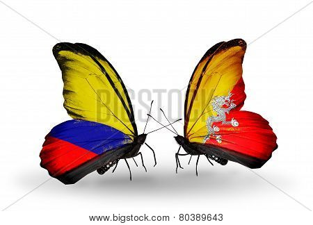 Two Butterflies With Flags On Wings As Symbol Of Relations Columbia And Bhutan