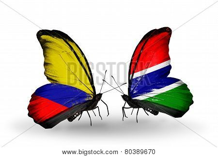 Two Butterflies With Flags On Wings As Symbol Of Relations Columbia And Gambia