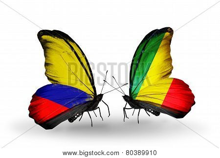 Two Butterflies With Flags On Wings As Symbol Of Relations Columbia And Kongo