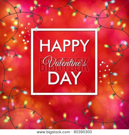 Festive red Valentines Day vector card design