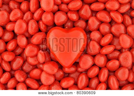 One Big Candy Heart In The Middle On Small Valentine Candies