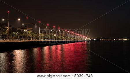 Thessaloniki Port At Night, Long Exposure Shot