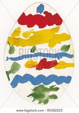 Picture Of Painted Egg Made By Preschool Child