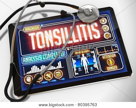 Tonsillitis on the Display of Medical Tablet.