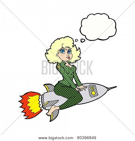 cartoon army pin up girl riding missile] with thought bubble