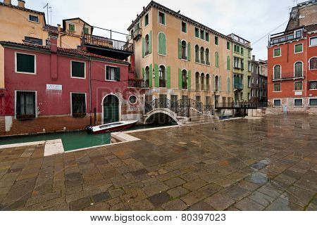Italy,Venice,San Marco,Campo S.Vidal-January 15: Ponte Guistinian And Houses In Rainy Winter Day