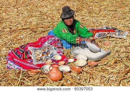 Native Selling Local Goods - Lake Titicaca, Peru