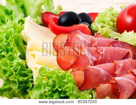 Bacon And Chees With Fresh Salad For Your Design