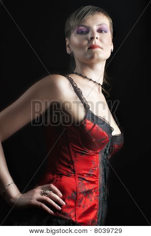 Sexy Woman In Red Corset