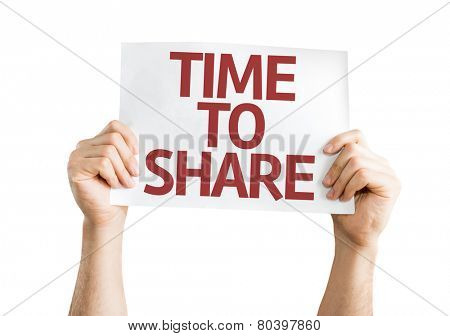 Time to Share card isolated on white background