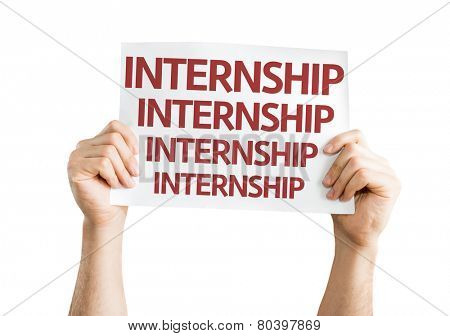 Internship card isolated on white background