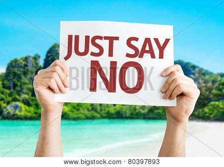 Just Say No card with a beach on background