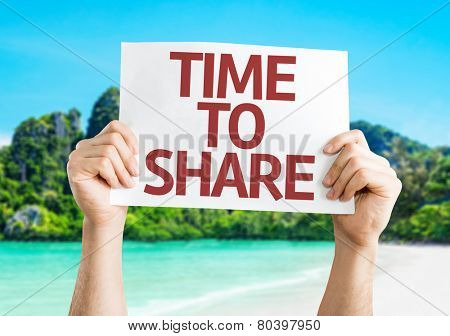 Time to Share card with a beach on background