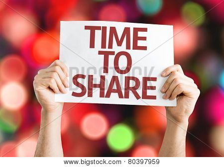 Time to Share card with colorful background with defocused lights