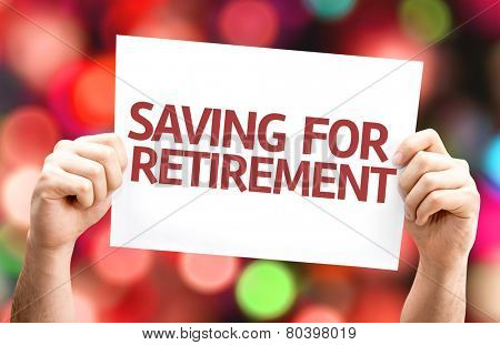 Saving for Retirement card with colorful background with defocused lights
