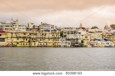 Overview of Udaipur at sunset, Rajasthan, India