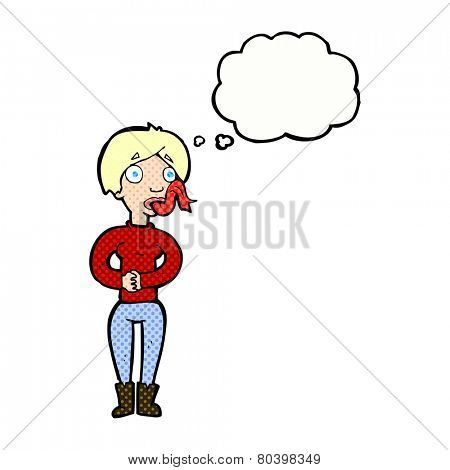 cartoon woman with snake tongue with thought bubble