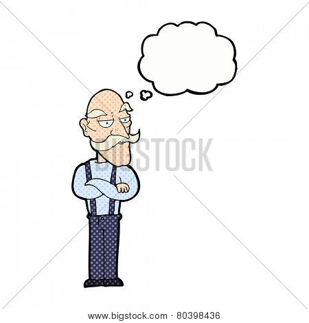 cartoon bored old man with thought bubble