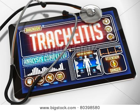 Tracheitis on the Display of Medical Tablet.