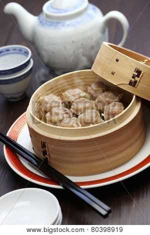 shu mai, shao mai, chinese food in bamboo steamer