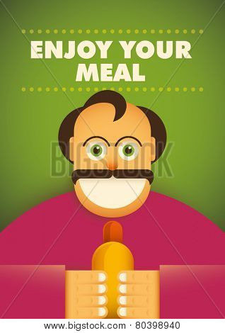 Comic guy with hot dog. Vector illustration.