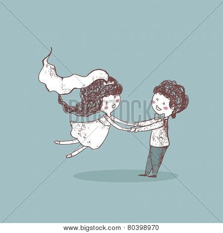 wedding set, groom spinning bride